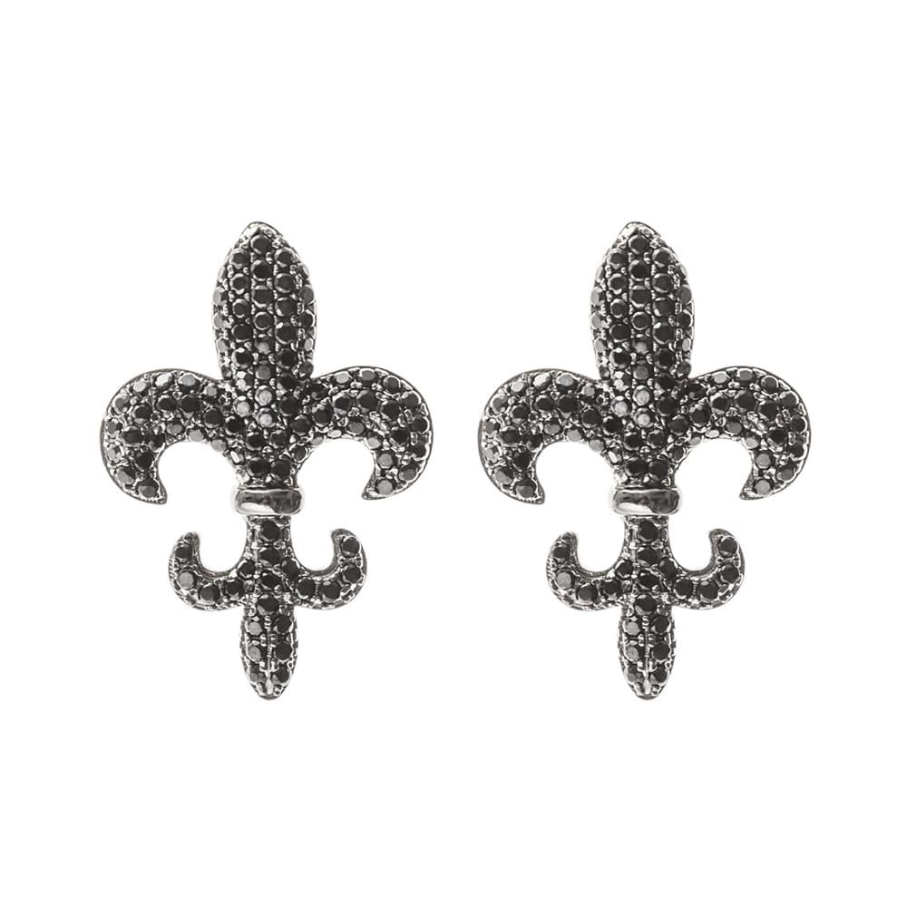 Boucles d'oreilles lys royal pierre noire 3