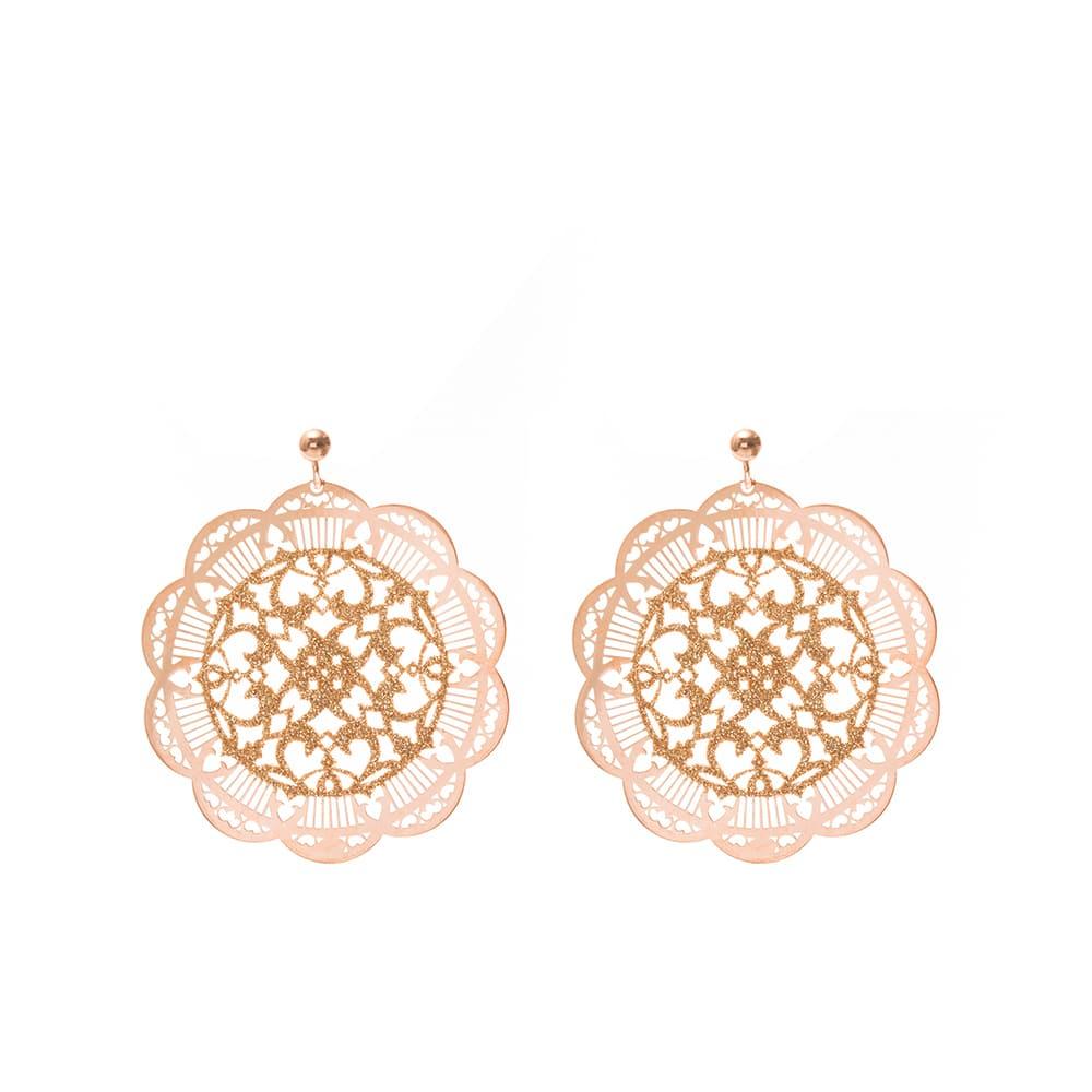 Boucles d'oreilles motif inca rose et champagne 1