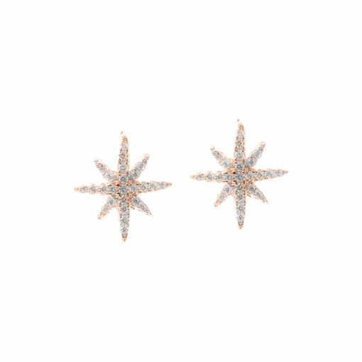 Small pink star silver earrings set 3