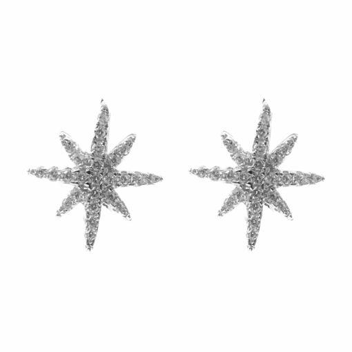 Small star set silver earrings 3