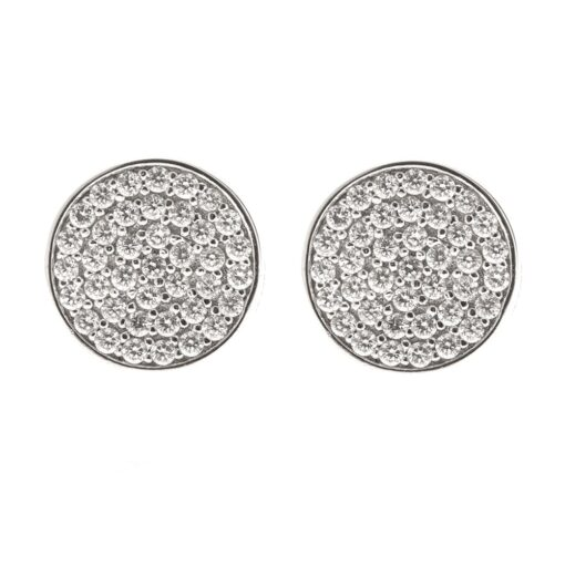 Silver chip earrings with medallion 3