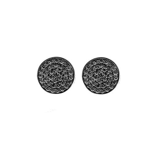 Black silver chip earrings medallion 3