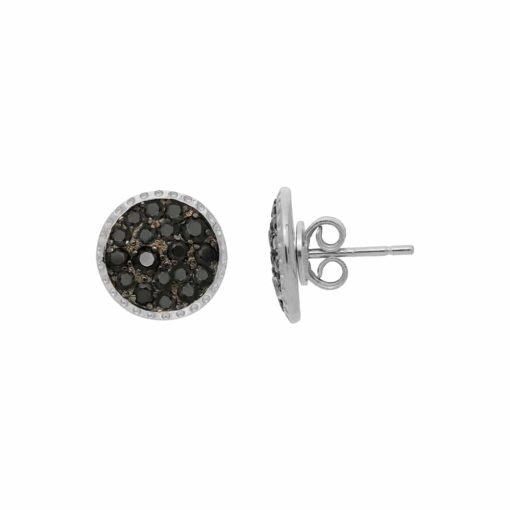Boucles d'oreilles rhodié zirconiums noir 3