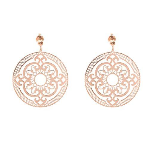 Boucles d'oreilles argent rosace rose 3