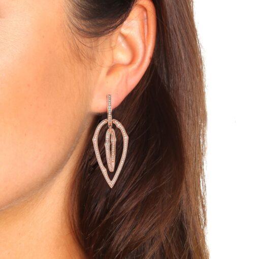 Boucles d'oreilles rose zirconiums blanc 4