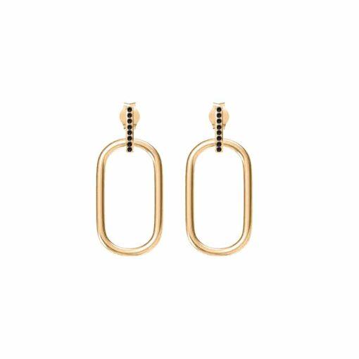 Boucles d'oreilles simple anneau doré olga sertie de zirconiums noir 3