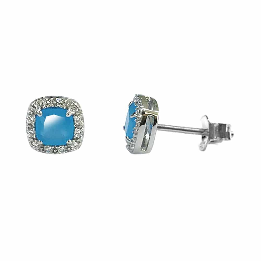 Boucles d'oreilles solitaire carré rhodié bleu 1