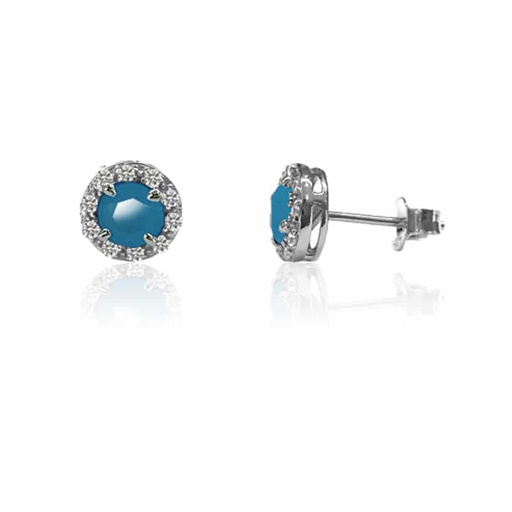 Boucles d'oreilles solitaire rond rhodié et bleu 3