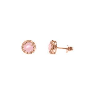银耳环粉红单人圆形粉红色宝石3