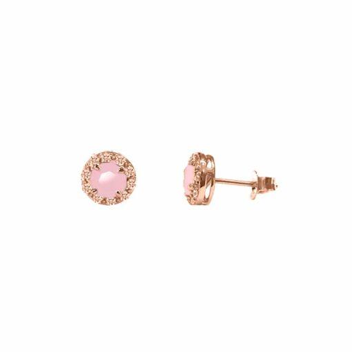 Boucles d'oreilles argent rose solitaire rond pierre rose 3
