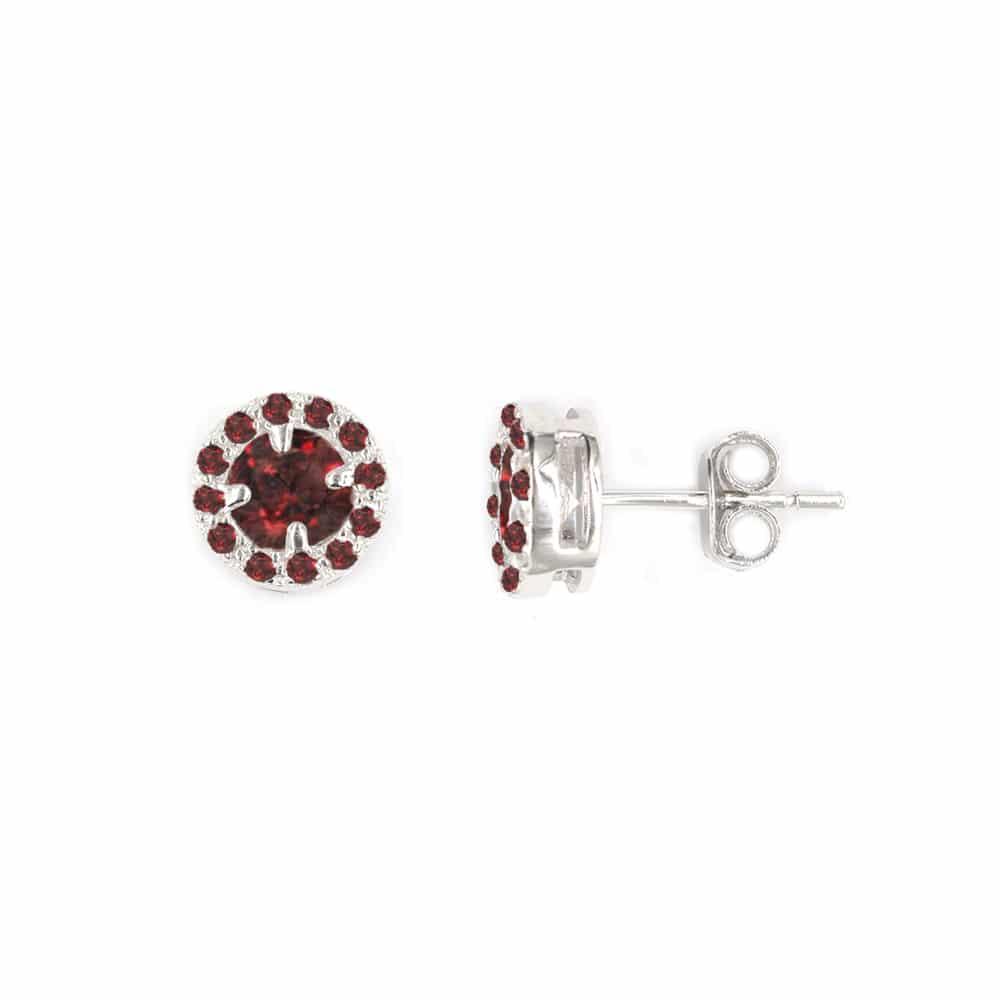 Boucles d'oreilles solitaire rond rhodié rouge pierre blanche 2
