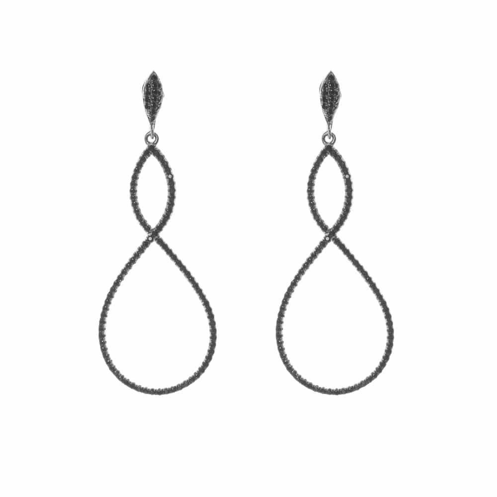 Boucles d'oreilles argent symbole infini noir 3