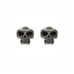 Boucles d'oreilles tête de mort skull pierre noire 4