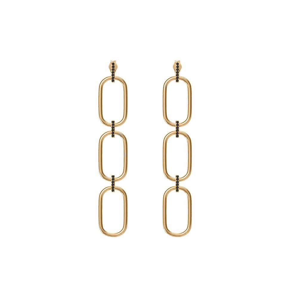 Boucles d'oreilles trois anneaux argent doré Olga sertie zirconiums noir 3