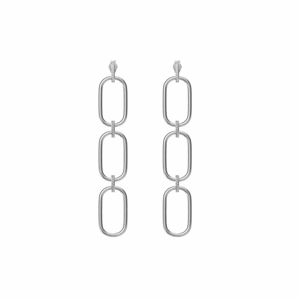 Boucles d'oreilles trois anneaux argent rhodié olga sertie zirconiums blanc 3
