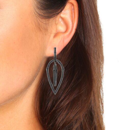 Boucles d'oreilles zirconiums noir 4