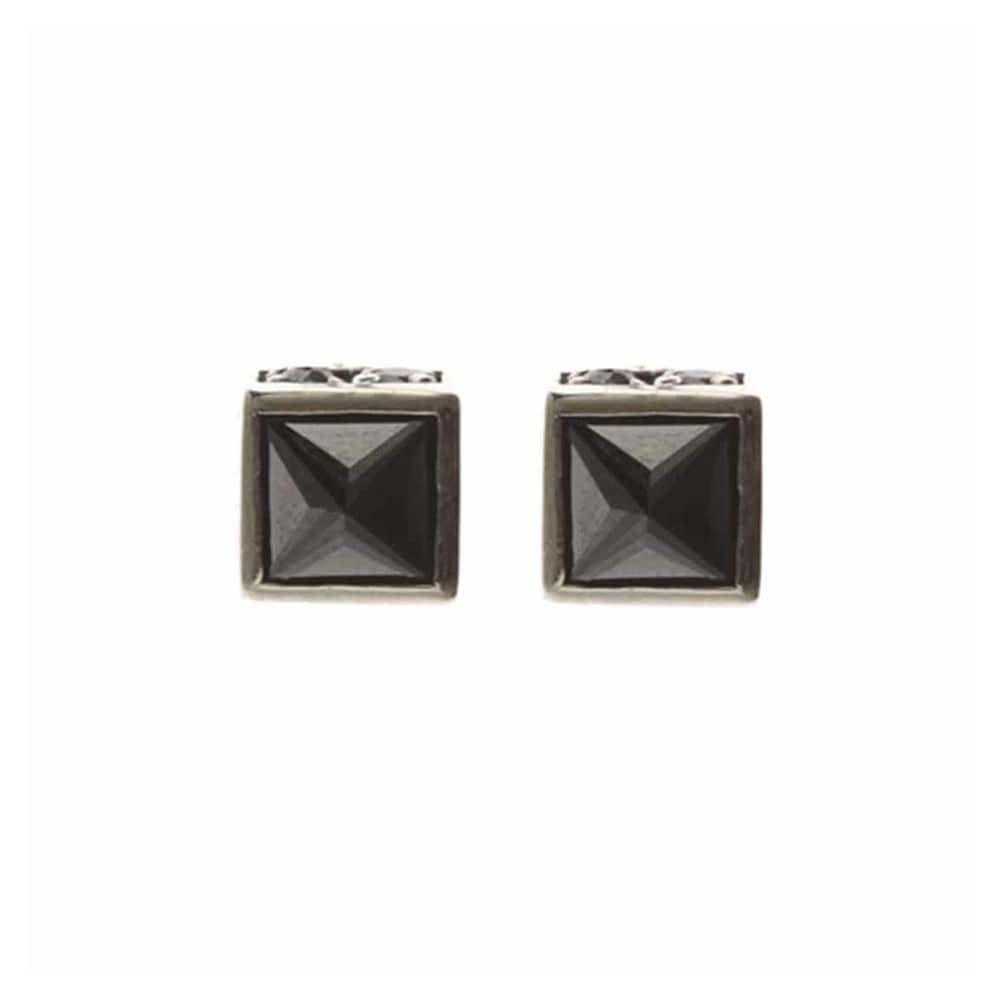 Boucles d'oreilles argent classy pierre noire 1