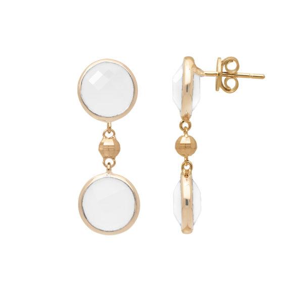 Boucles d'oreilles argent doré valentine cristal blanc 3