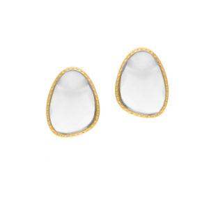 Boucles d'oreilles argent doré victoria cristal blanc 5
