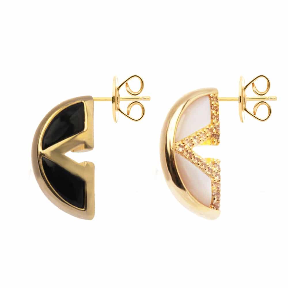 Boucles d'oreilles argent doré virgin nacre et onyx 3