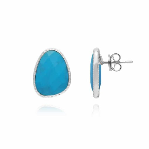 Boucles d'oreilles argent victoria cristal turquoise 4