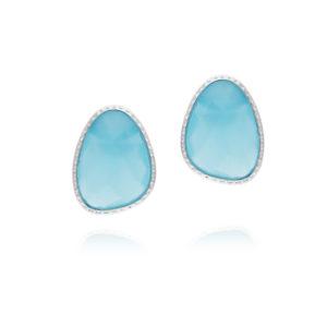 Boucles d'oreilles argent victoria cristal vert eau 3