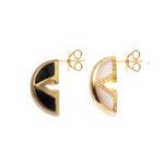 Boucles d'oreilles argent doré virgin nacre et onyx 5