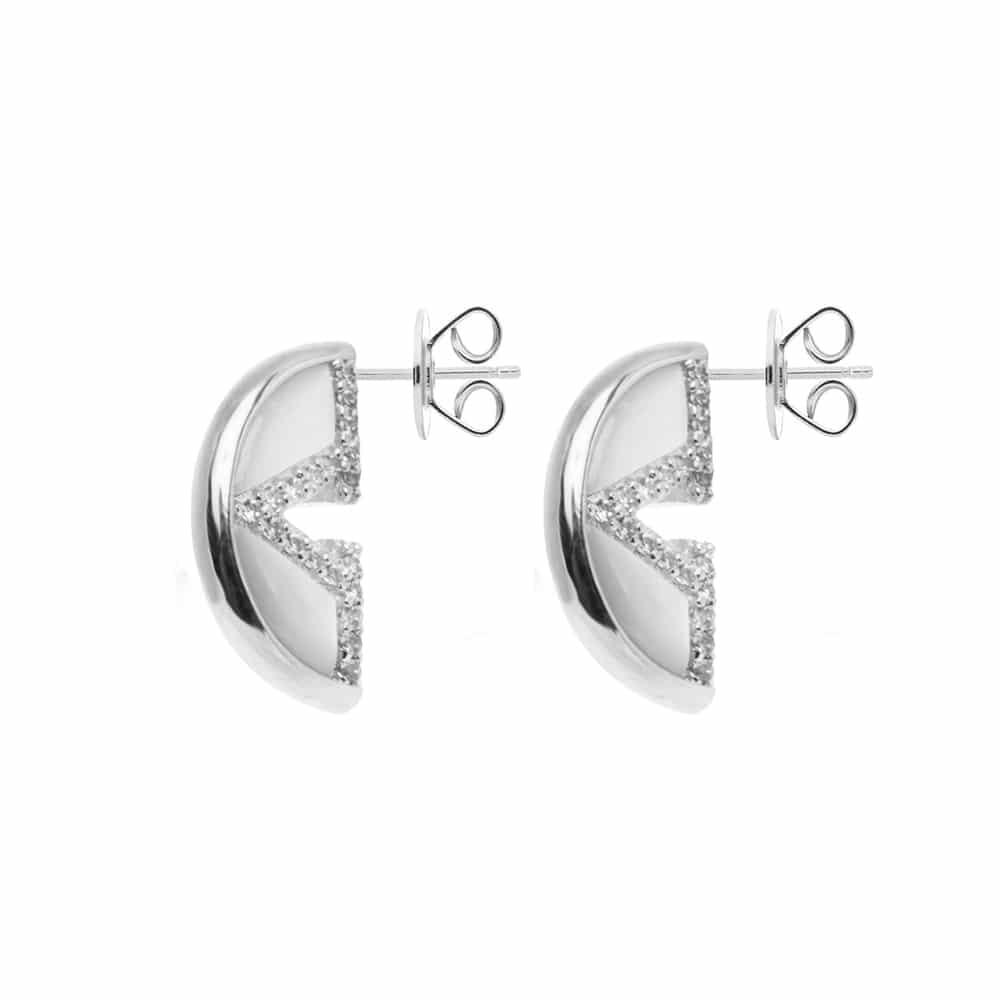 Boucles d'oreilles argent virgin nacre et onyx 3