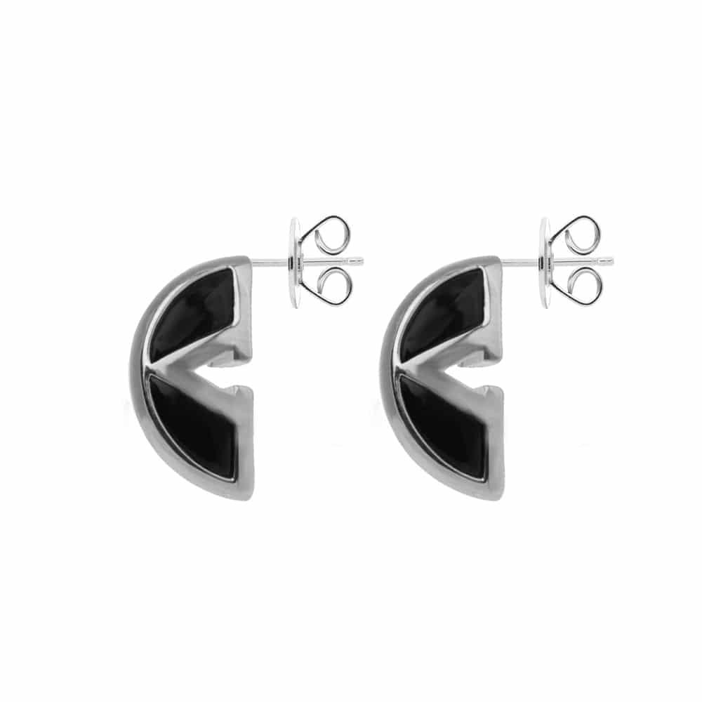 Boucles d'oreilles argent virgin nacre et onyx 4