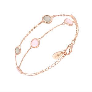 Bracelet double bulle rose gris 6