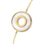 Bracelet anna en argent doré pierre nacre zirconium blanc 5