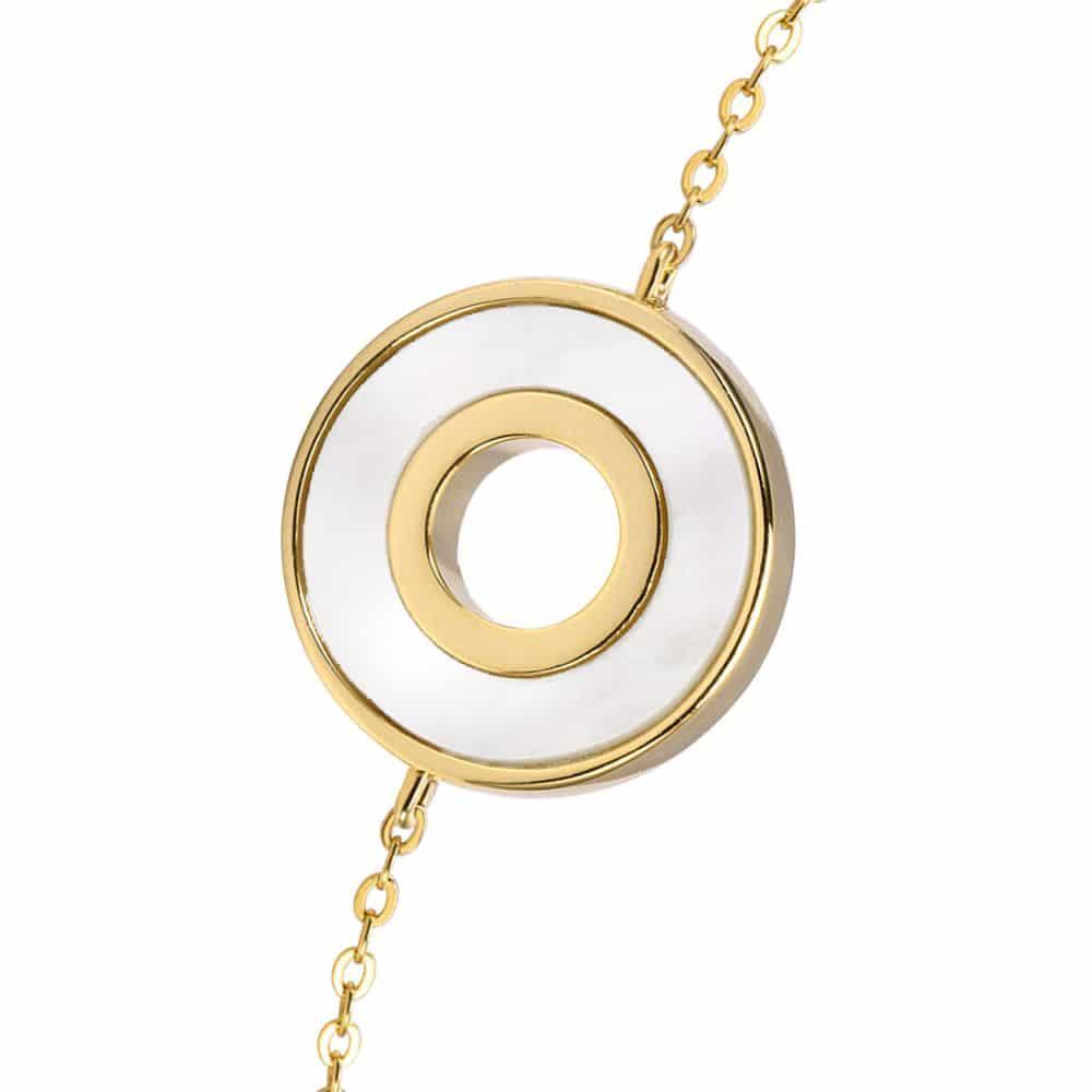 Bracelet anna en argent doré pierre nacre zirconium blanc 4