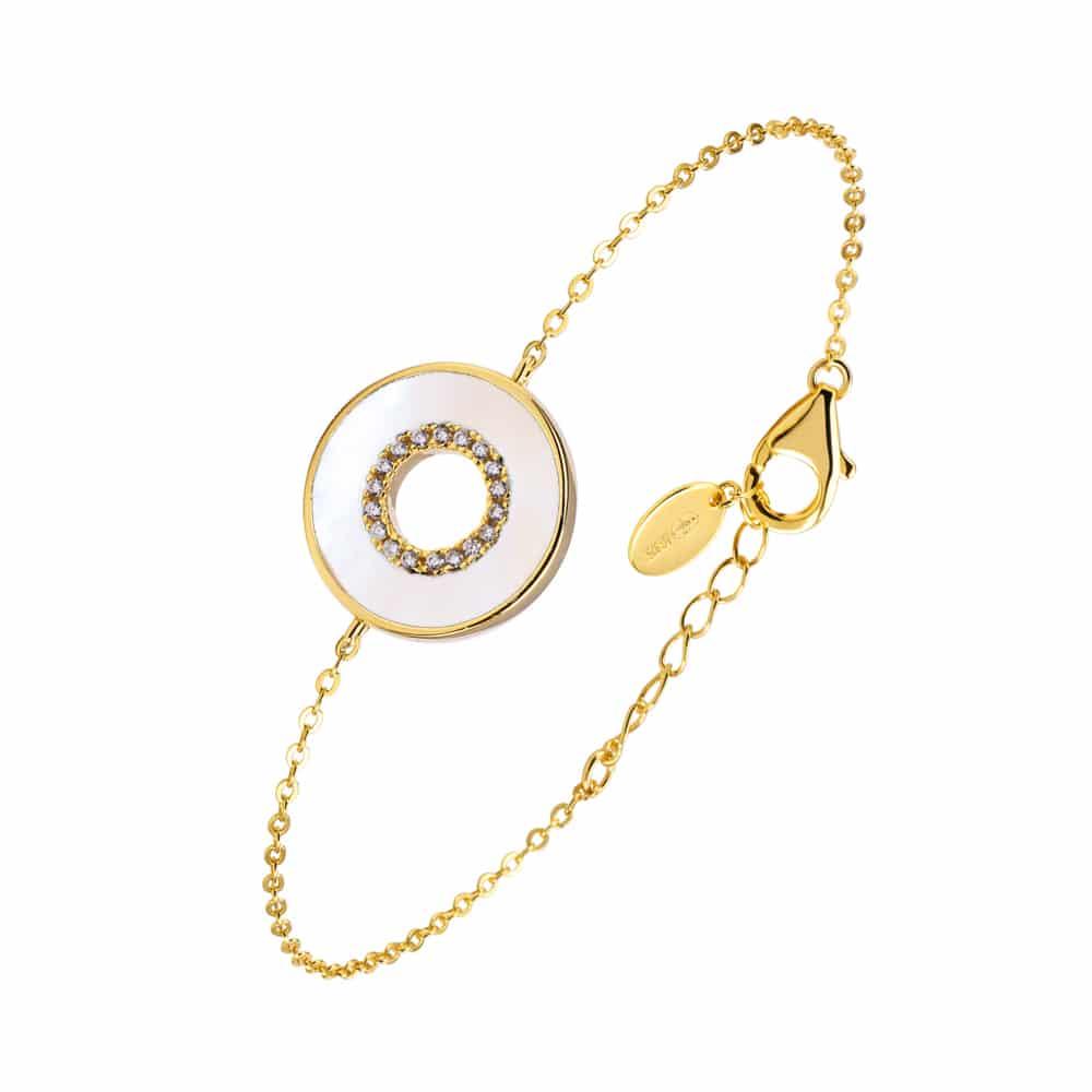 Bracelet anna en argent doré pierre nacre zirconium blanc 3