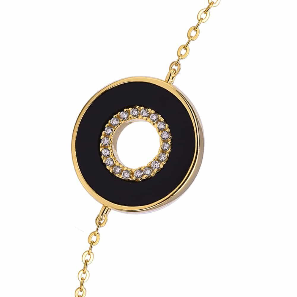 Bracelet anna en argent doré pierre onyx zirconium blanc 4