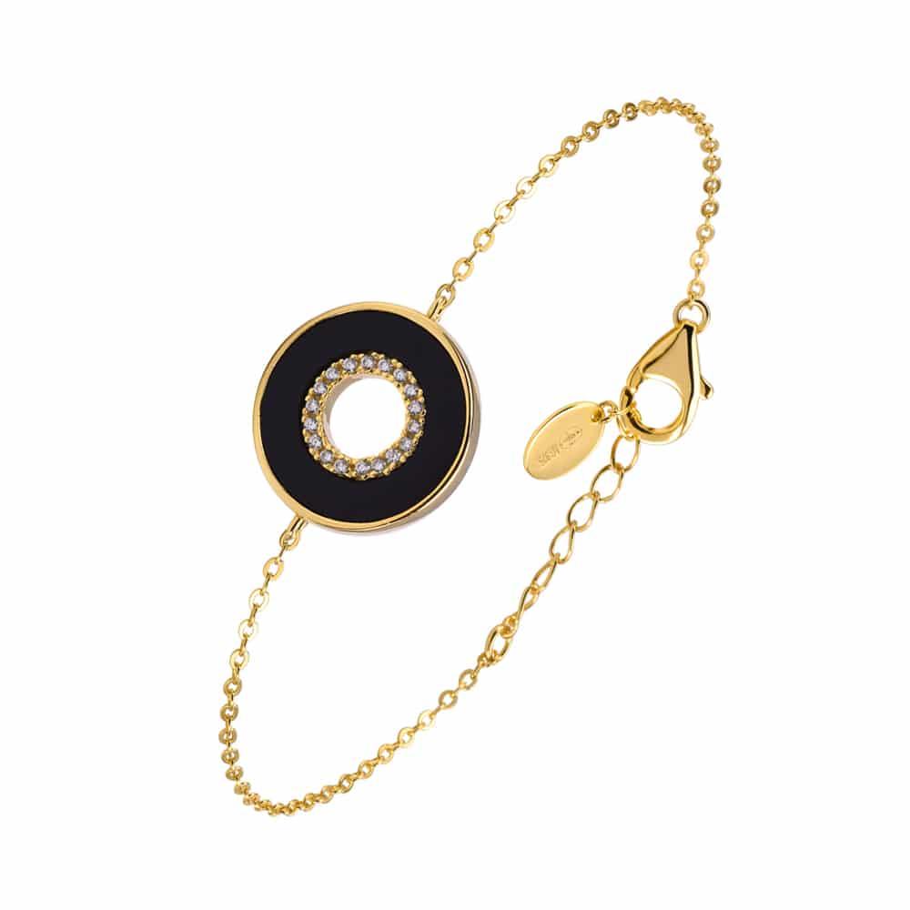 Bracelet anna en argent doré pierre onyx zirconium blanc 3