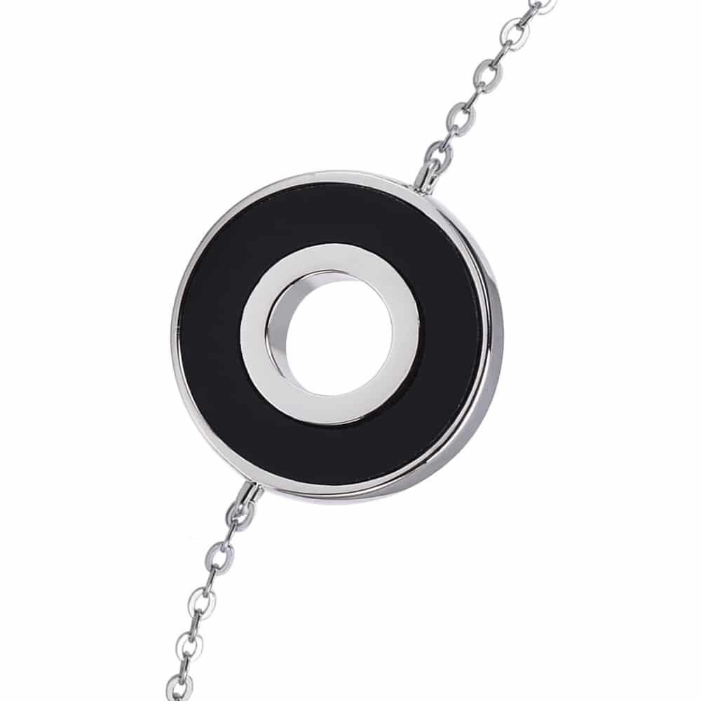 Bracelet anna en argent pierre onyx zirconium blanc 4