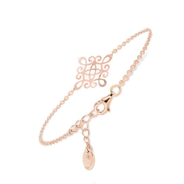 粉色菱形蔓藤花纹手链1