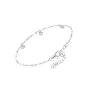 密钉银手链配白色锆石6
