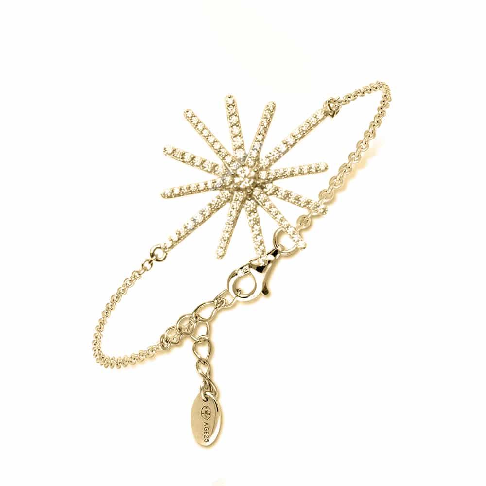 Bracelet argent comète doré pierre champagne 3