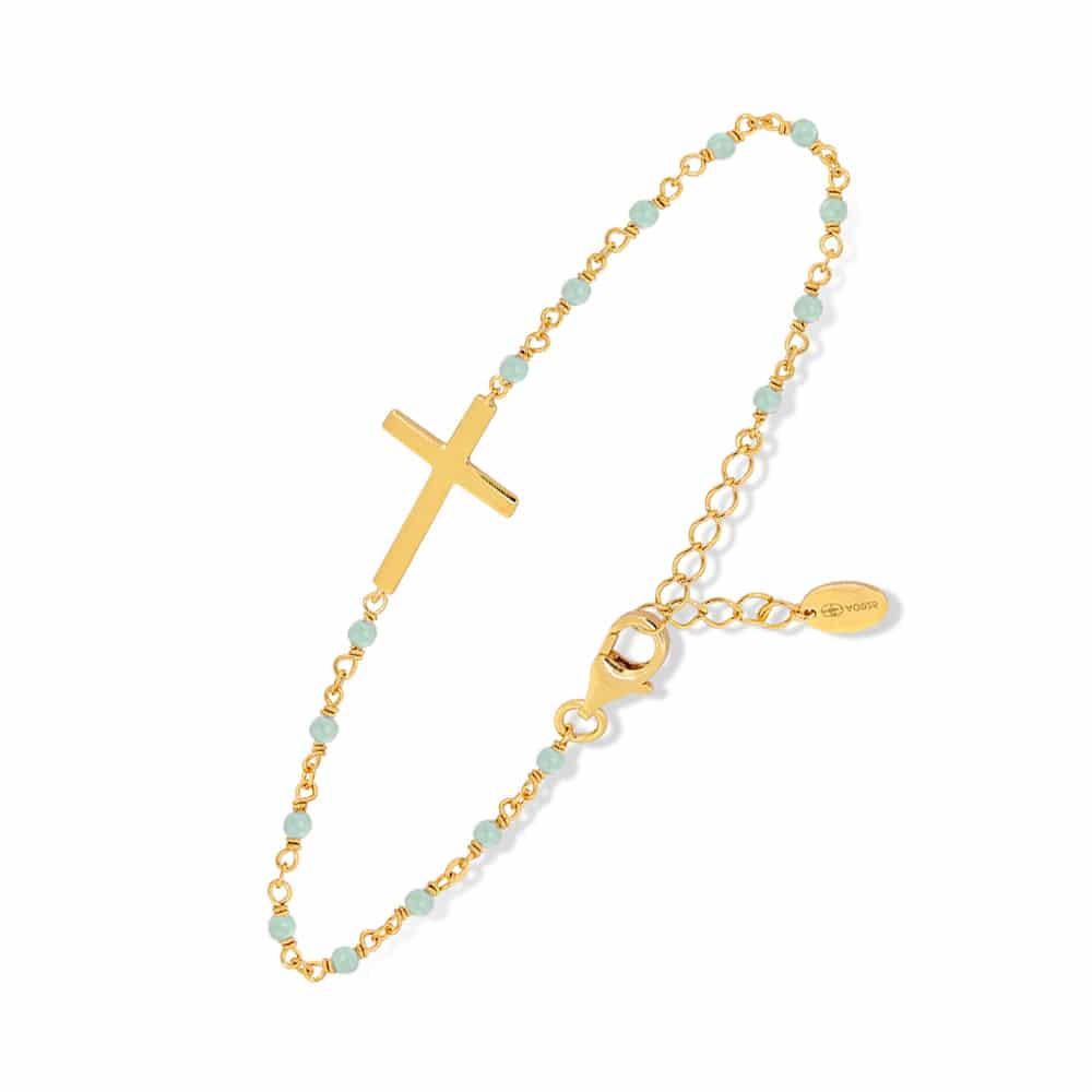 bracelet argent doré croix et aventurine 3