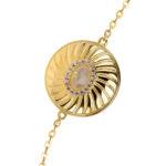 Bracelet argent doré elisabeth pierre nacre blanche 5