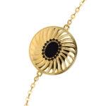 Bracelet argent doré elisabeth pierre onyx noire 5