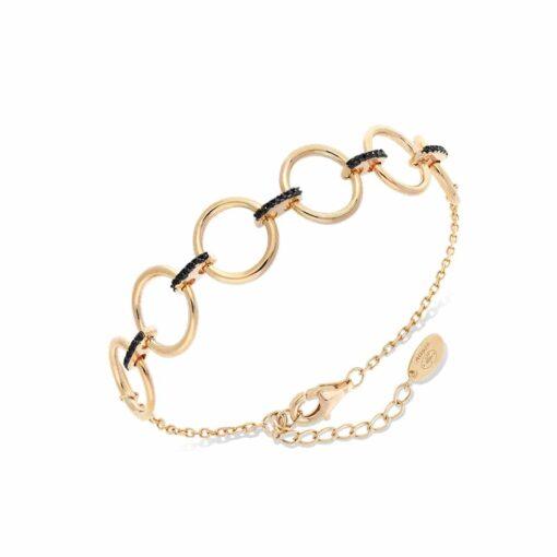 Elise golden silver bracelet set with black zirconias 3