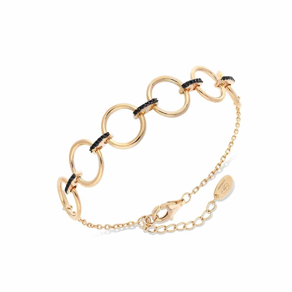 Bracelet argent doré élise sertie de zirconiums noir 1