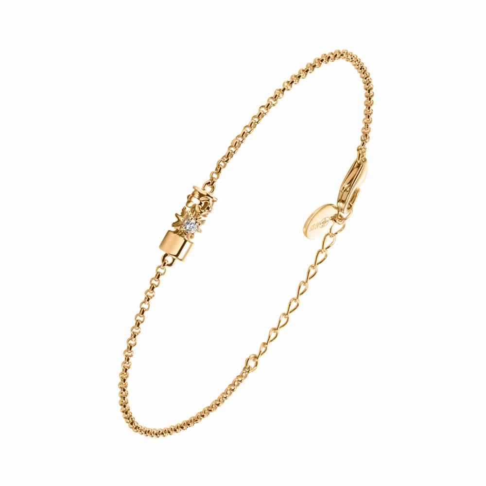 Bracelet argent doré Étoile sertie de zirconiums blanc 3
