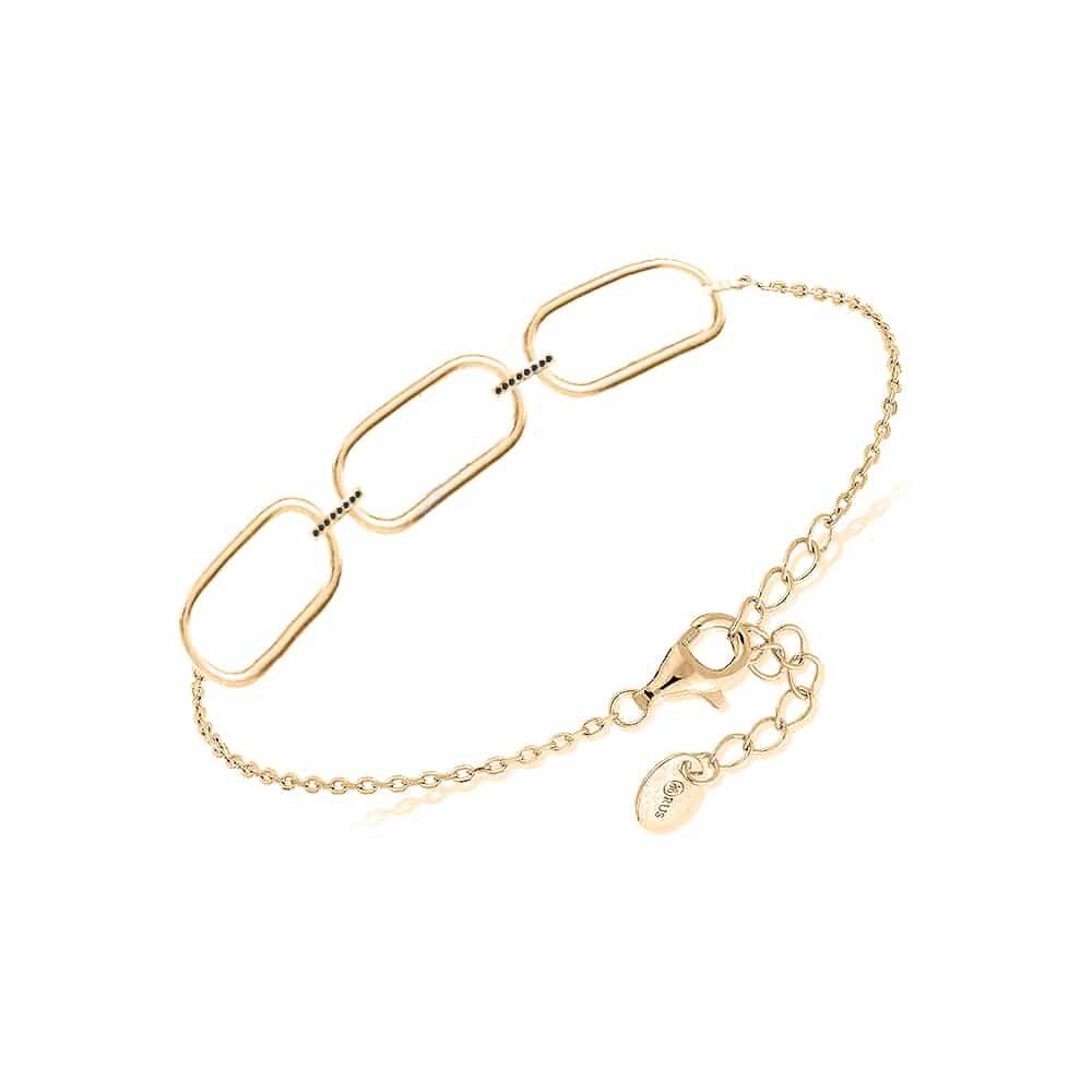 Bracelet argent doré, Olga sertie zirconiums noir 3