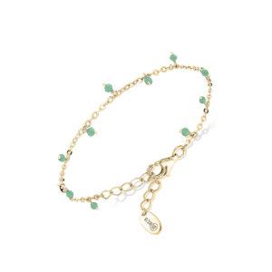 Bracelet argent doré petites goutte perles aventurine 4