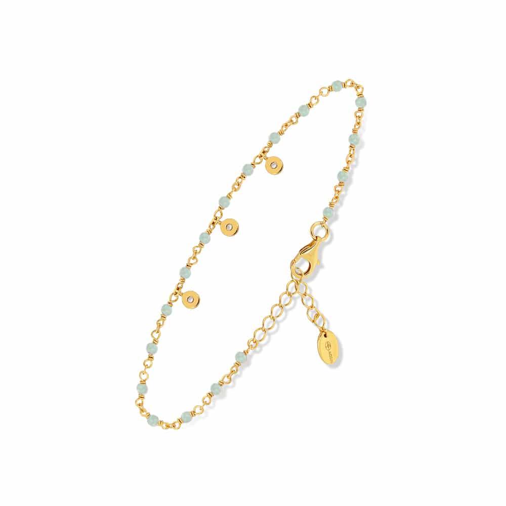 Bracelet argent doré petites pampilles serties et aventurine 3