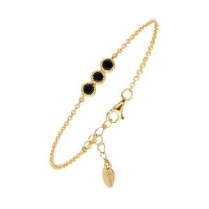 Bracelet argent doré pierre onyx noir 7