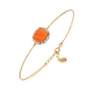 Bracelet argent dore pierre unique orange 6